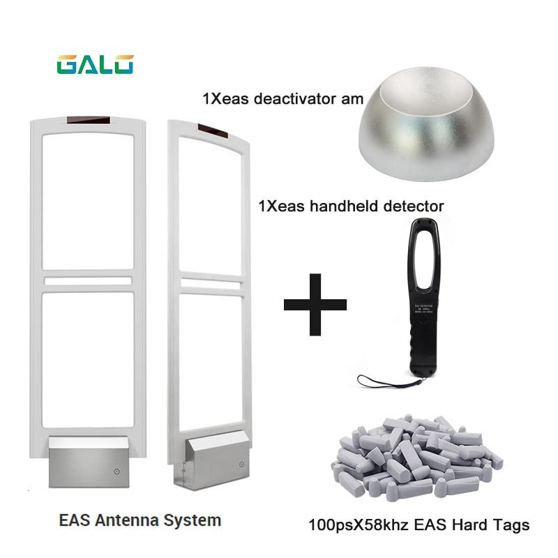 Sistema de antena de puerta de seguridad EAS de 58khz con etiquetas duras y desactivador y probador de mano