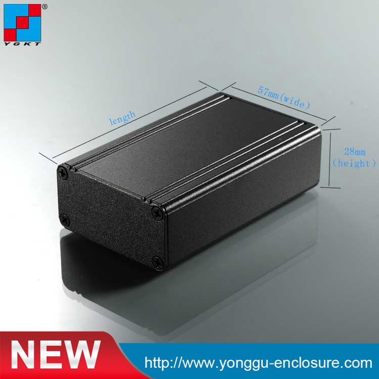 YGK-003 57*28-90mm (wxh-l) caja electrónica de instrumentos de aluminio/carcasa externa hdd negra/caja de disco duro externo