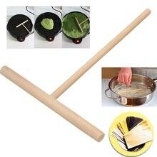 2 pièces roulant crêpe grattoir en bois en forme de T cuisine friture pâtisserie crêpière léger crêpe outil pâte spatule grattoir