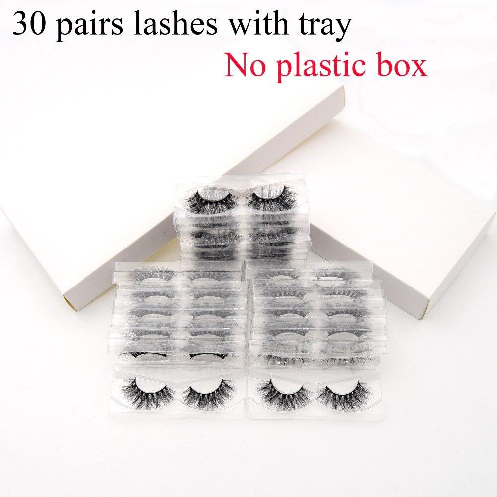 30 pares/pacote visofree 3d visofree vison cílios com bandeja nenhuma caixa natural crueldade livre vison cílios postiços reutilizáveis longo do falso cil