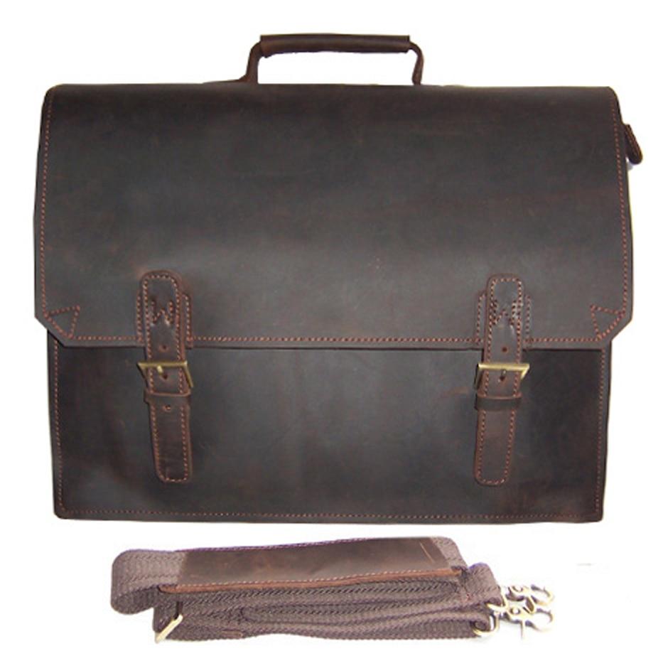 Vintage Crazy Horse Genuine Leather Briefcase men laptop bag 14.5 Business porte document office