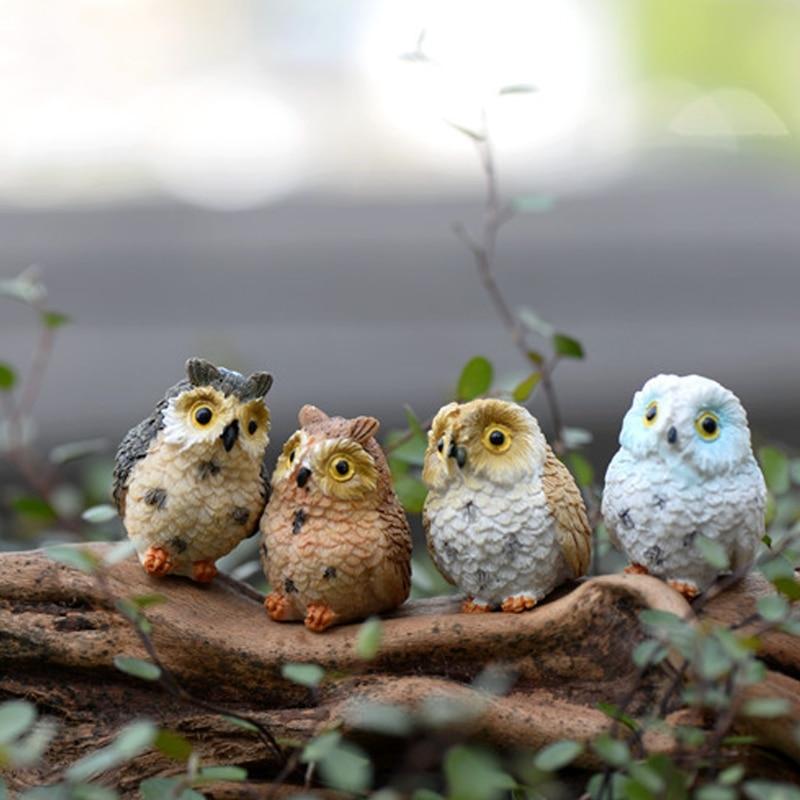OOTDTY Resin Ute Owl Mini Dollhouse Bonsai Craft Garden Ornament DIY Plant Pots Fairy Garden Patio decor Drop Shipping