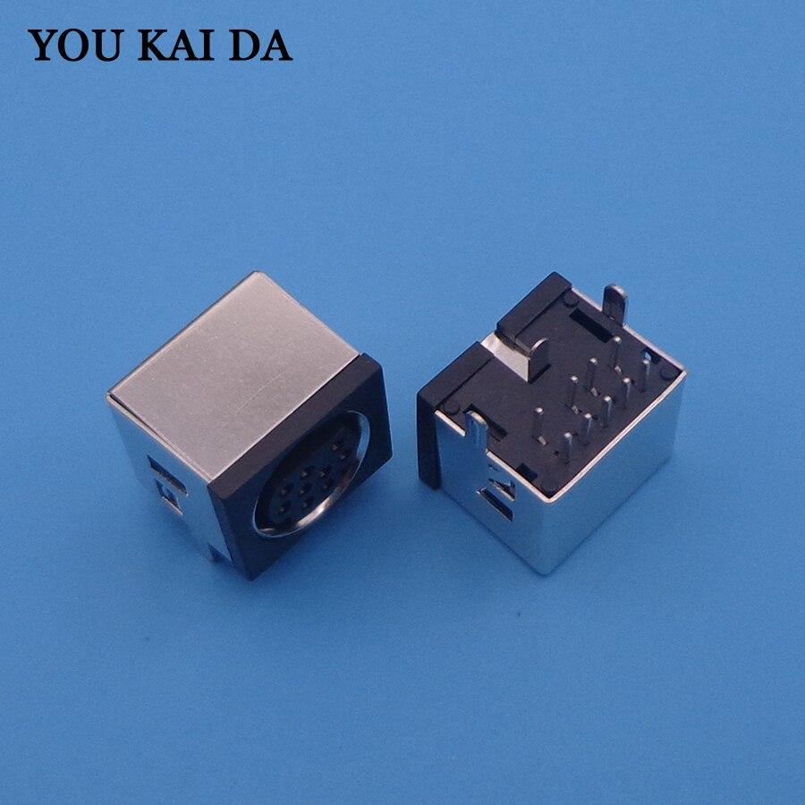 100 pcs/lot MD Housing Female DIN 9 Mini Pin S-video Adapter Socket Mini DIN Port Connector 9P 9 Pin DC jack