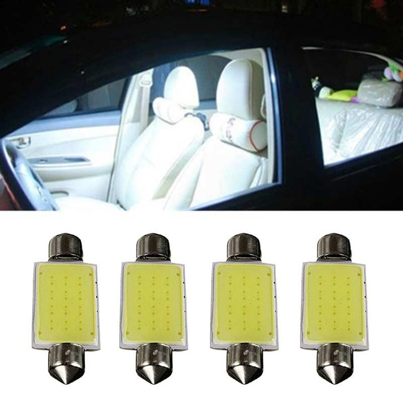 4 bombillas LED festón COB de 41MM y 2W, luces de cúpula Interior, color blanco, 12V, PAK55