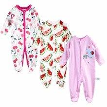 Pyjama confortable à manches longues pour bébé   3 pièces, barboteuse 100% en coton, vêtements de nouveau-né imprimés, design de dessin animé