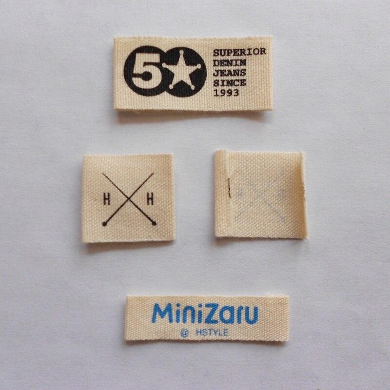 Personalizado (1000 unids/pack) de ropa Etiqueta de algodón impreso etiqueta principal para ropa con el nombre de marca y logotipo envío gratis