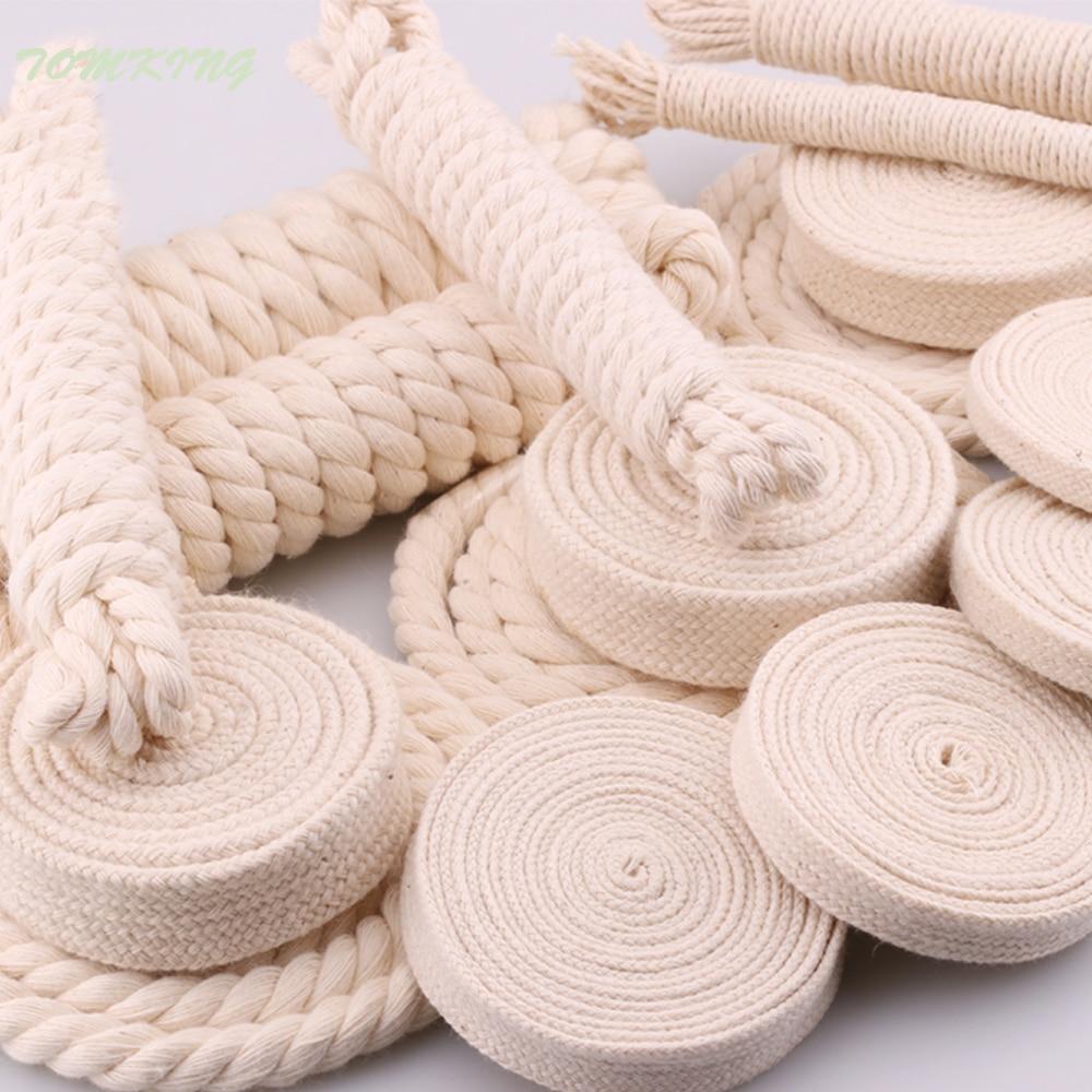 10yd/lote de cuerda plana redonda de alta resistencia de color natural con 3 capas, cuerdas 100% de algodón para el hogar, accesorios de ropa hechos a mano, proyectos de artesanía