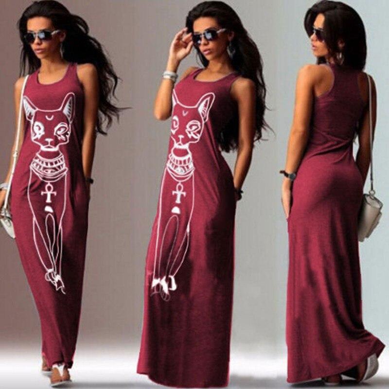 ZSIIBO Dresses Cat Print Boho Long Maxi Beach Dress Evening Party Bodycon Tank Dress Tunic Vestidos