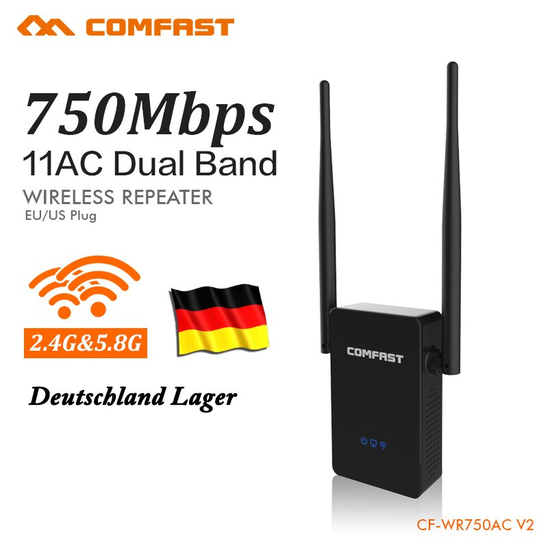Немецкий склад 750 Мбит/с WIFI удлинитель повторитель 2,4G/5,8G беспроводной Wi-Fi ретранслятор усилитель сигнала Roteador маршрутизатор CF-WR750AC