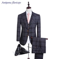 damier check wedding suit 2 buttons groom tuxedos tweed suitsgroomsman suit custom made 2020 man suits jacketpantsvest