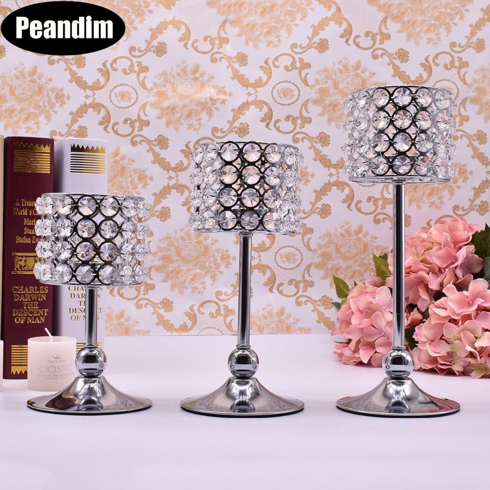 Peandim 3pcs Silver Gold Plated Candlestick Crystal Candelabra Centerpiece Wedding Decoration Romantic Center Table Candlesticks