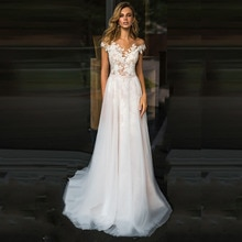 LORIE plage robe de mariée dentelle Scoop a-ligne Appliques Tulle longue princesse Vintage robe de mariée 2019 sur mesure robe de mariée