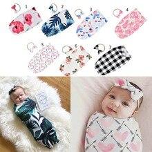 Sac de couchage pour nouveau-né   Couverture à Swaddle imprimée, enveloppe en mousseline + bandeau, 2 pièces, accessoires photographiques pour nouveau né