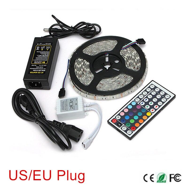 Tira de Led RGB de 5M SMD 5050 60LED/M DC12V luz led Flexible + mando a distancia de 44 teclas + adaptador de corriente 12V 6A enchufe estadounidense/europeo