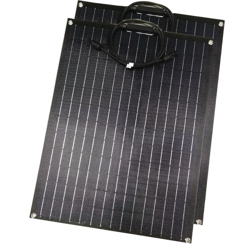2pcs ETFE Flexible solar panel 60w 12v panel solar charger with ETFE surface Coating semi flexible solar panels