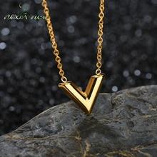 Nextvance-colliers avec lettres V pour femmes, avec pendentifs, Alphabet Initial, ras du cou, bijoux en or, cadeau, Collier Kolye