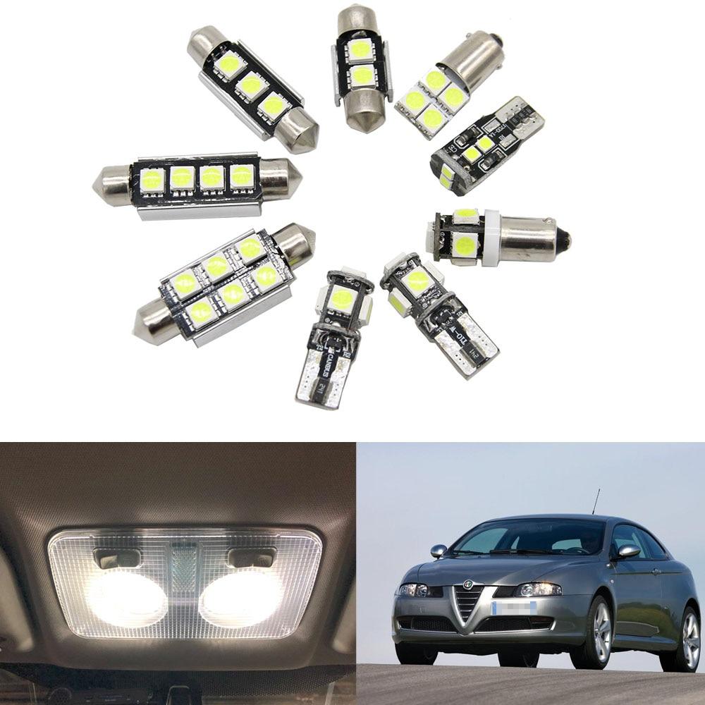 7 Uds. De bombilla LED Canbus sin Error, kit de luces para guantera Interior de domo de mapa para Alfa Romeo GT (2003-2010)