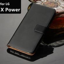 Housse de portefeuille de luxe en cuir de qualité supérieure étui pour lg X puissance 5.3
