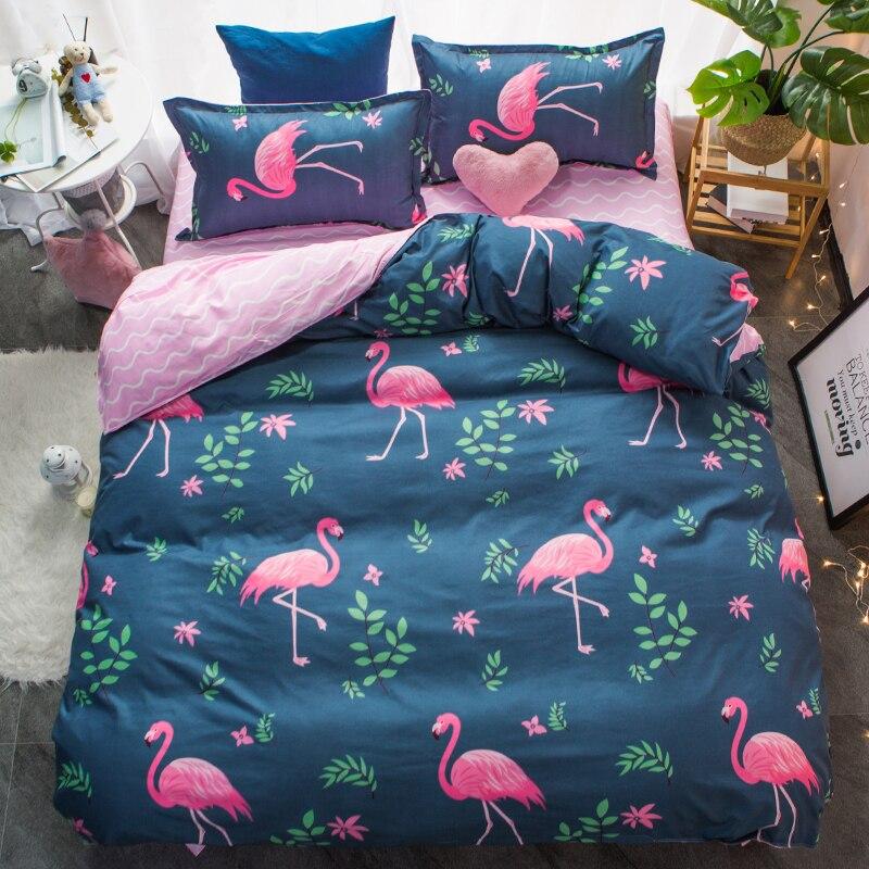 Flamingo rosa conjuntos de cama folha plana capa edredão rei rainha tamanho gêmeo completo fronha capa edredão conjuntos 3/4pcs