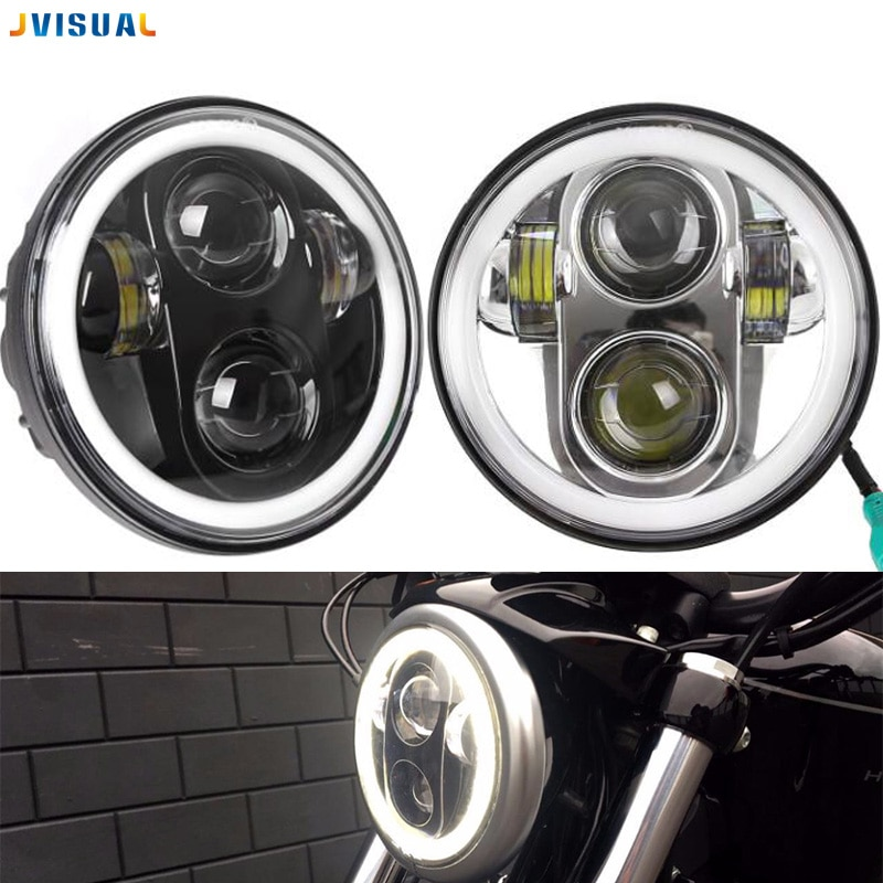 "Faros delanteros Led para motocicleta de 5,75 ""H4 con ojo de Ángel para Harley Bike Sportsters XL XG XR VRSCD Dyna 5,75"