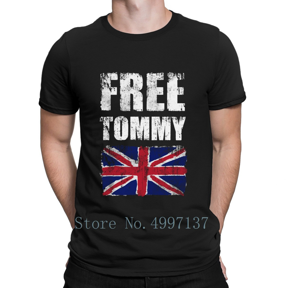 Freetommy Robinson Uk Flag T Shirt Funny Summer Cute Tee Shirt Normal Plus Size 3xl Designer Normal Shirt