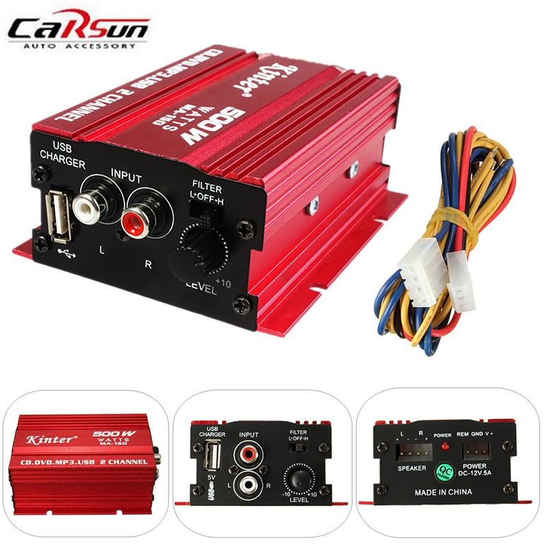 Mini Digital Stereo Amplifier Hi-Fi 2CH 500W USB Hi-Fi Subwoofer for Car Motorcycle Boat Kinter MA-150 Factory Price