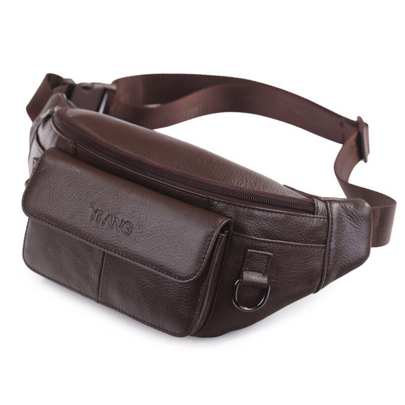 Alta qualidade dos homens de couro genuíno cintura sacos peito bolsa ombro único cruz corpo saco moda real hip fanny cinto pacote