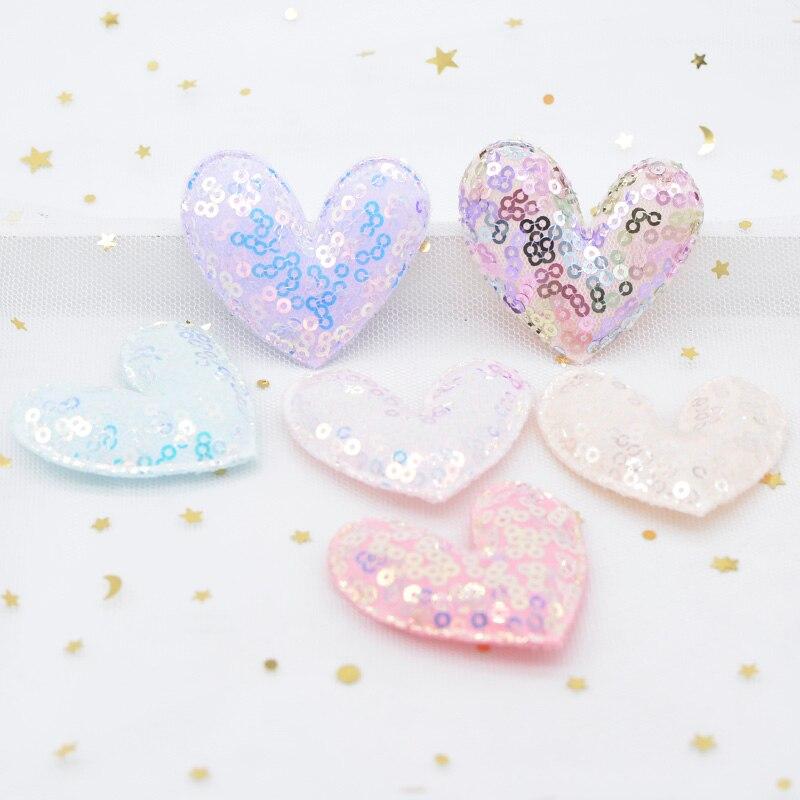 Мягкие патчи с блестками и сердечком, 6 шт., для самостоятельного изготовления волос для маленьких девочек, заколки, ленты, головные уборы, ук...
