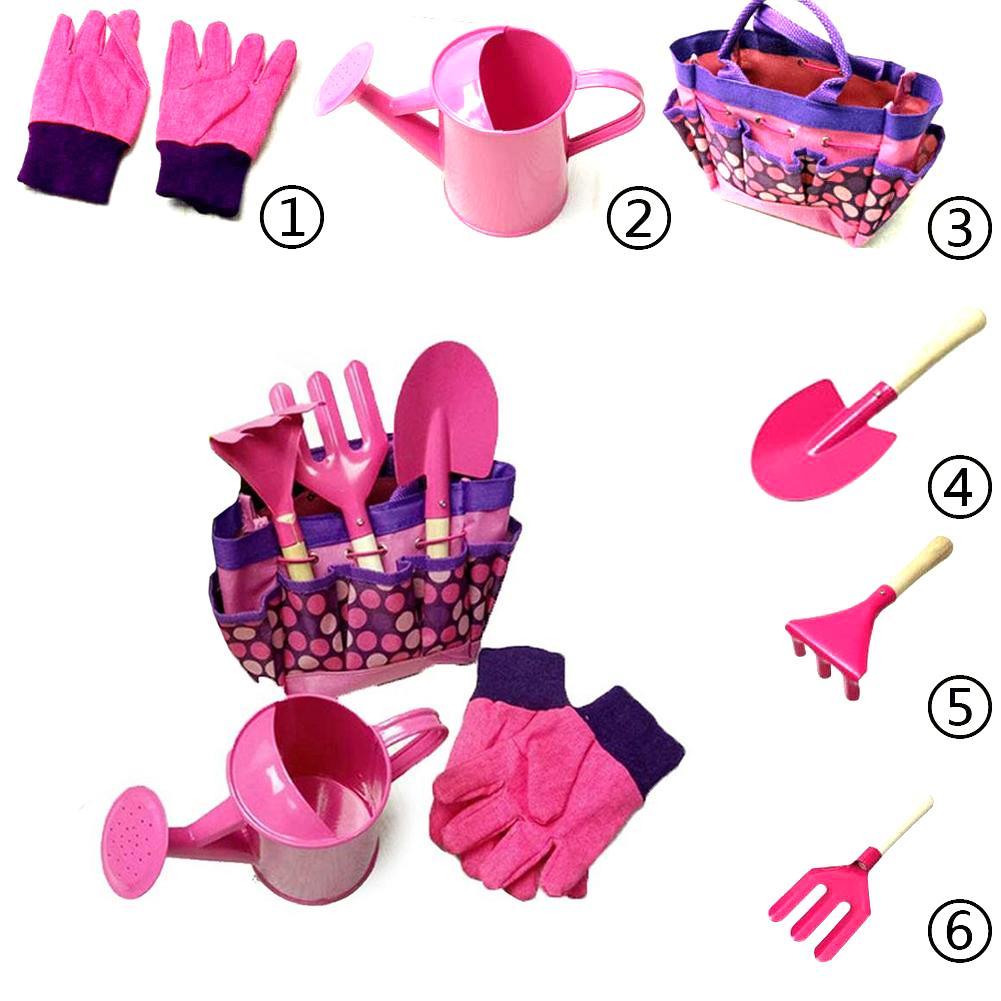 6Pcs Children Kids toys Garden Tools Watering Can Gardening Shovel Rake Spade miniature Parent-child play kids Toys for children
