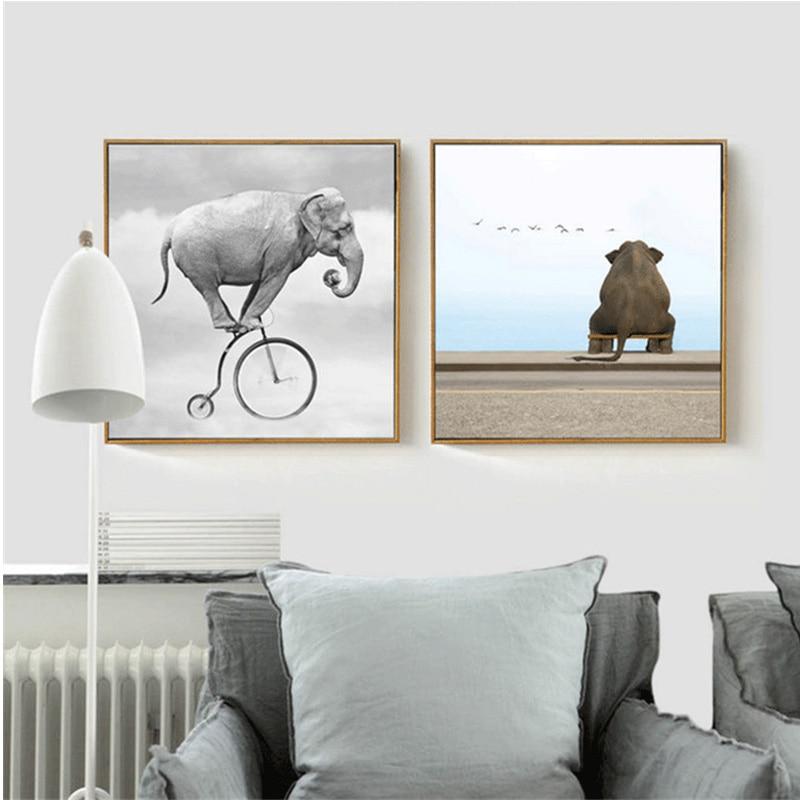 HAOCHU Moderna Animal Elefante Monta Uma Bicicleta Engraçado Pintura Da Lona de Arte do Retrato Da Parede Cartazes Quadrados para Quarto de Crianças Decoração Da Sua Casa