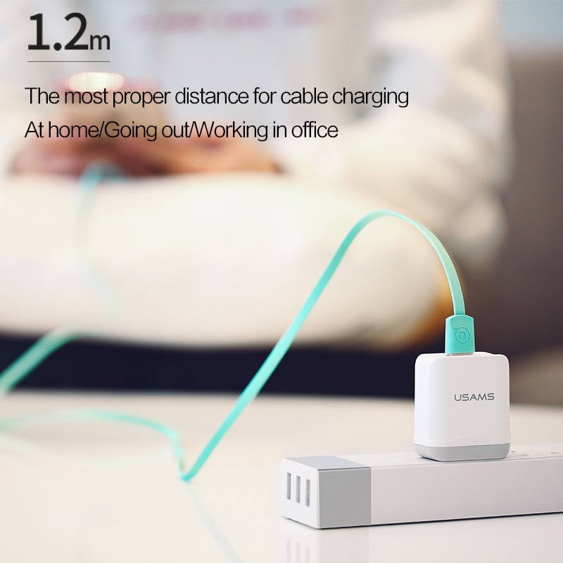 Купить с кэшбэком USAMS 1.2m 2A Flat Lighting Type C Micro USB Mobile Phone Cable For iPhone 12 11 X 8 7 6 Plus Huawei Honor Charger Data Cable