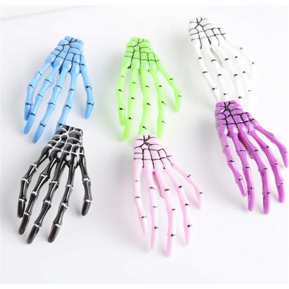 2 PC Moda Mulheres Meninas Criativas Harajuku Crânio Esqueleto Mão Cabelo Óssea Clipe Garra Fantasma Esqueleto do Dia Das Bruxas Partido Hairpin