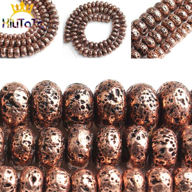Natuurlijke Rood Koper Platte Lava Kralen Ronde Rondell Losse Spacer Bead 156/8/10mm Voor Sieraden maken DIY Armband Ketting