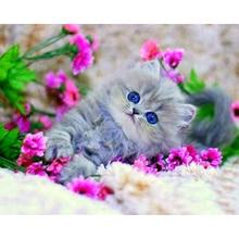 5D DIY diamond embroidery Kitten in the flowers diamond painting Cross Stitch full square Rhinestone mosaic decoration