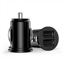 Cargador mini USB Dual de 2 puertos para camión de coche adaptador para iPhone 7 Plus 6 5S 4S Huawei P10 Samsung Galaxy S8 S7 móvil negro 12V de potencia
