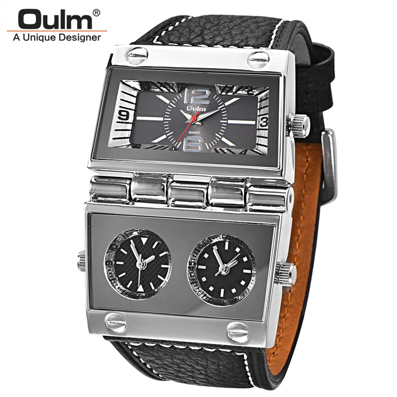 Oulm ثلاثة المنطقة الزمنية 2 بطلب الرياضة الساعات الرجال كبيرة الكوارتز ساعة الذكور جلد طبيعي عارضة العسكرية ساعة اليد الرجل