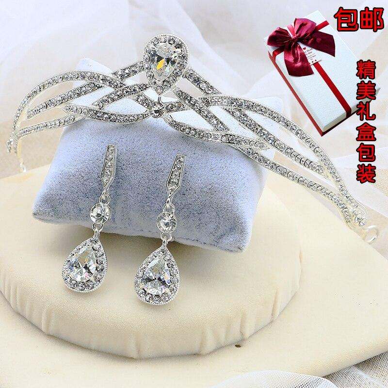 Nupcial mariposa flor gota de agua plata Diamante cristal tiara diademas corona pendientes accesorios para el cabello de boda al por mayor