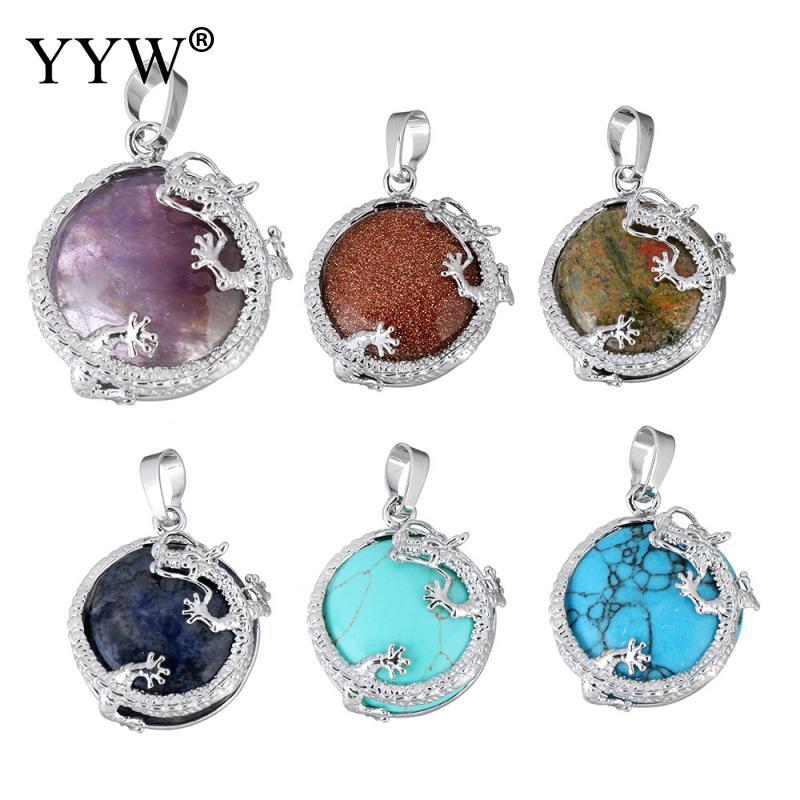 Wisiorki naturalny klejnot kamień wisiorki biżuteria posrebrzany smok wisiorek z motywami zwierząt morze Opal tygrysie oko moda quartz biżuteria wisiorki