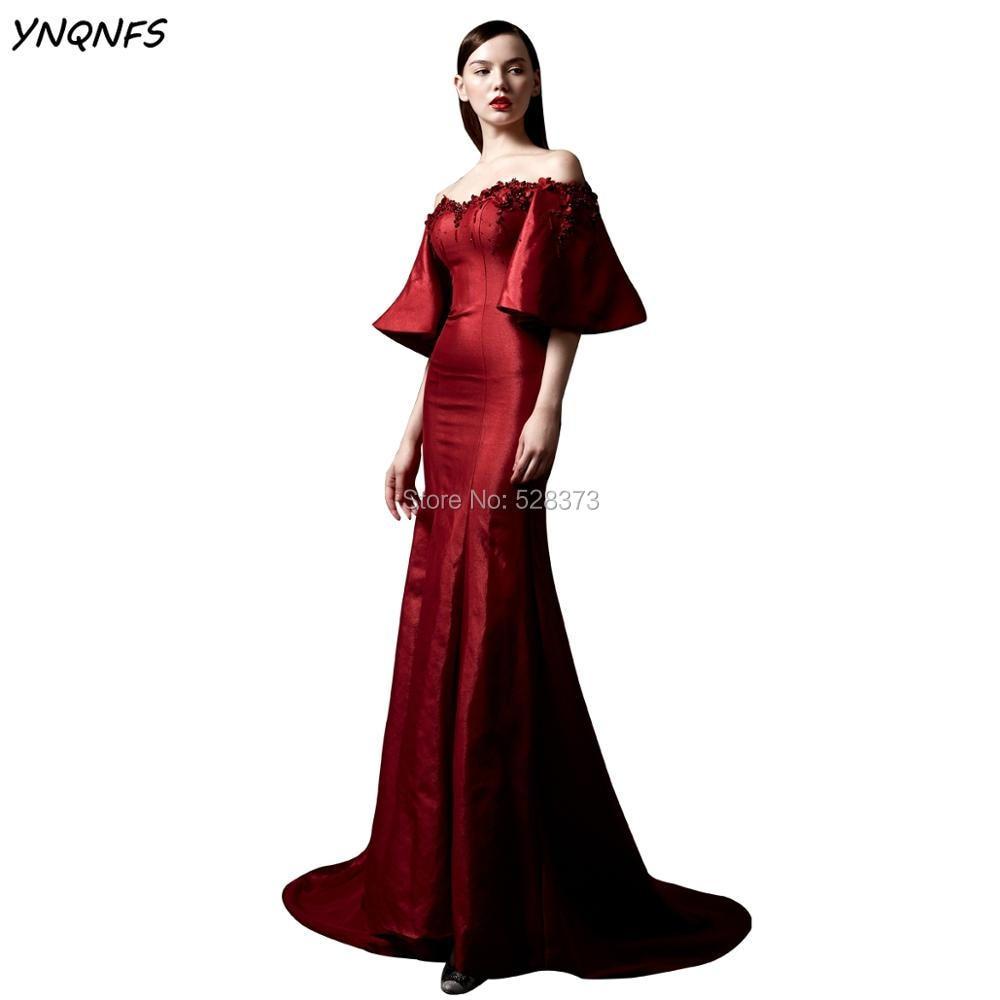 YNQNFS ED153 فستان حورية البحر الطويل الأنيق ، فستان سهرة ، قارب ، أكتاف عارية ، بكشكشة ، أم العروس ، مجموعة 2019