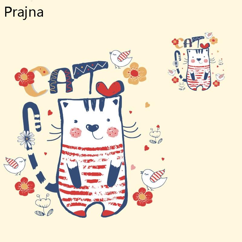 Prajna Transferencia de hierro para la ropa camiseta tela de dibujos animados gato parche apliques térmicos calor vinilo transferencia pegatinas impresora insignia