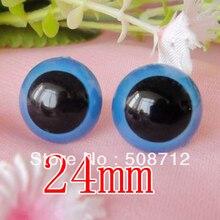 Livraison rapide!!! 100 pièces/lot 24mm couleur bleue élève jouet yeux/yeux de sécurité avec serrure en plastique-rondelles/poupée jouet poupée yeux