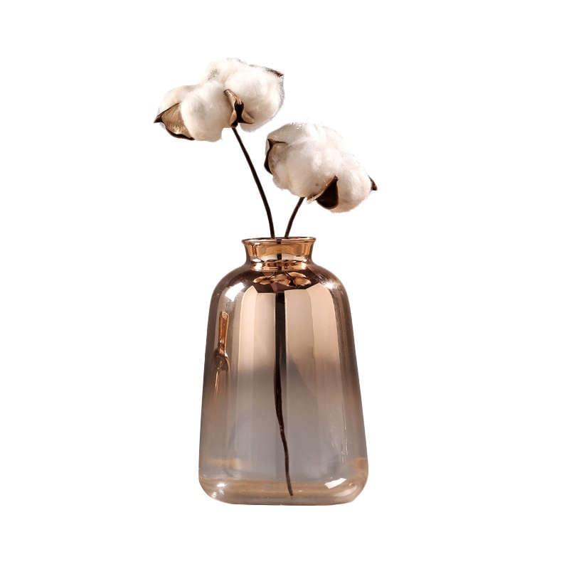 Jarrón de cristal nórdico oro galvanizado florero de cristal para decoración del hogar botella de flores secas Bar restaurante decoración-1