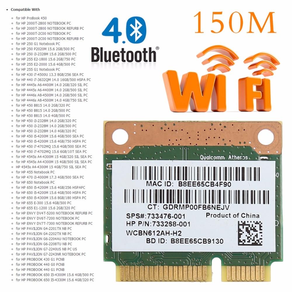Tablet-802.11b/g/n WiFi Bluetooth 4.0 sans fil demi Mini carte PCI-E pour HP Atheros QCWB335 AR9565 SPS 690019-001 733476-001