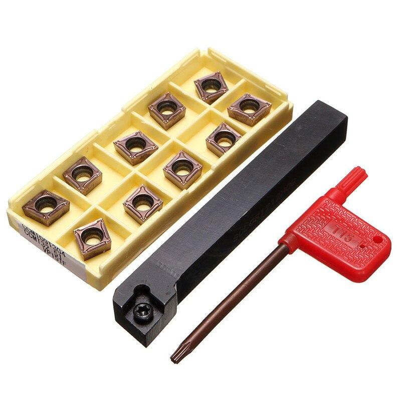 SCLCR1212H09 cortador de herramientas de torno de soporte con 10 Uds. Cuchillas de CCMT09T304-PM insertar CNC 100mm