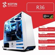 Kotin R36 Intel i7 8700 Gaming pc de bureau 240 GB SSD GTX 1060 carte graphique Ordinateur Intel Maison 8th Génération CPU 5 ventilateurs libre