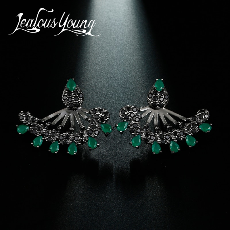 Brand Bulgaria Club Factory 2017 Women Earrings Green CZ Stone Stud Earrings Luxury Black Sex Studs Ear Brincos AE488
