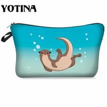 Sac de maquillage Yotina pour femmes sac cosmétique avec motif multicolore loutre impression 3D Pouchs cosmétiques pour organisateur de maquillage de voyage