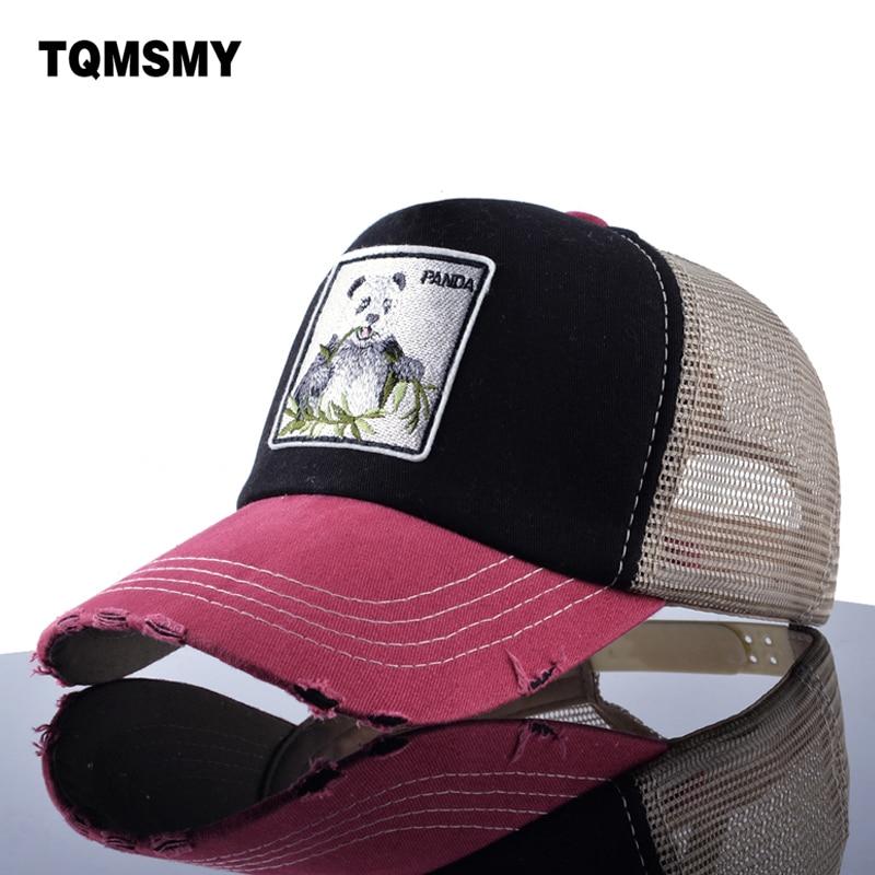 TQMSMY Unisex sombreros de Sol para hombres gorro de hip hop transpirable malla Gorras de béisbol mujeres bordado panda Snapback Gorras de verano