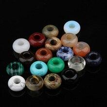 Perles plates en pierre naturelle de mode plusieurs couleurs grand trou bonne qualité bijoux à bricoler soi-même accessoires 13*7mm trou taille 5mm