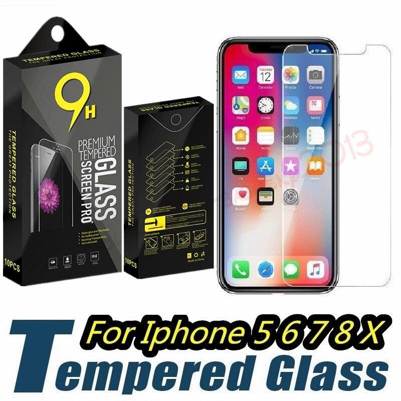 100 unids/lote de vidrio templado 2.5D 0,26mm Protector de pantalla para Samsung Galaxy S6 S7 S8 S9 htc para iphone 5 6 7 8 x con caja al por menor